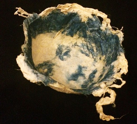 silk bowl with cyanotype