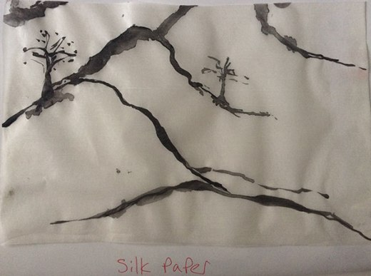 chinese Ink On Silk Paper